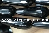 CAA2511 15.5 inches 6*16mm faceted teardrop black agate beads