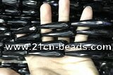 CAA2523 15.5 inches 12*50mm faceted teardrop black agate beads