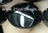 CAA2541 15.5 inches 15*20mm oval black agate beads wholesale