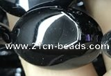 CAA2543 15.5 inches 22*30mm oval black agate beads wholesale