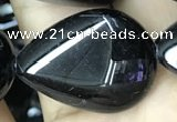 CAA2551 15.5 inches 18*25mm flat teardrop black agate beads wholesale