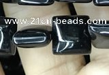 CAA2554 15.5 inches 8*8mm square black agate beads wholesale