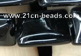 CAA2569 15.5 inches 15*20mm rectangle black agate beads wholesale