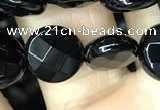 CAA2582 15.5 inches 14mm faceted coin black agate beads wholesale
