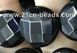 CAA2586 15.5 inches 25mm faceted coin black agate beads wholesale