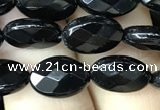 CAA2591 15.5 inches 8*12mm faceted oval black agate beads wholesale