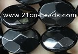 CAA2592 15.5 inches 10*14mm faceted oval black agate beads wholesale