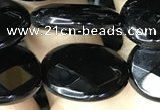CAA2595 15.5 inches 15*20mm faceted oval black agate beads wholesale