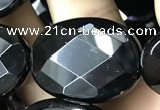 CAA2597 15.5 inches 22*30mm faceted oval black agate beads wholesale