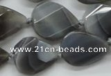 CAA260 15.5 inches 24*32mm twisted & faceted teardrop grey line agate beads
