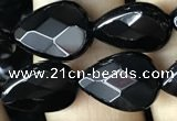 CAA2601 15.5 inches 10*14mm faceted flat teardrop black agate beads