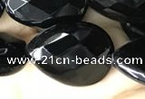 CAA2604 15.5 inches 15*20mm faceted flat teardrop black agate beads