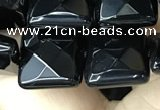 CAA2610 15.5 inches 14*14mm faceted square black agate beads