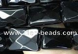 CAA2618 15.5 inches 8*12mm faceted rectangle black agate beads wholesale
