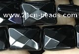 CAA2619 15.5 inches 10*14mm faceted rectangle black agate beads