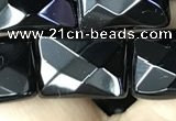 CAA2621 15.5 inches 13*18mm faceted rectangle black agate beads