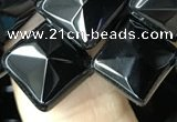 CAA2628 15.5 inches 12*12mm faceted diamond black agate beads