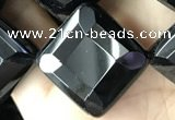 CAA2631 15.5 inches 20*20mm faceted diamond black agate beads