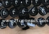 CAA2635 15.5 inches 4mm round banded black agate beads wholesale