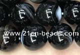 CAA2638 15.5 inches 10mm round banded black agate beads wholesale