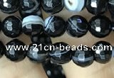 CAA2645 15.5 inches 6mm faceted round banded black agate beads