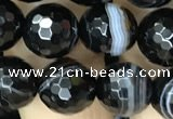 CAA2647 15.5 inches 10mm faceted round banded black agate beads