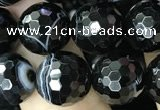 CAA2648 15.5 inches 12mm faceted round banded black agate beads