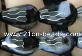 CAA2653 15.5 inches 10*14mm faceted teardrop banded black agate beads