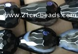 CAA2654 15.5 inches 13*18mm faceted teardrop banded black agate beads