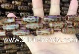 CAA2663 15.5 inches 10*28mm - 11*30mm rice tibetan agate dzi beads