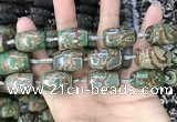 CAA2668 15.5 inches 13*22mm - 15*23mm drum tibetan agate dzi beads