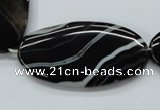 CAA268 15.5 inches 25*48mm oval black line agate gemstone beads