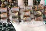 CAA2684 15.5 inches 14*19mm - 15*20mm bone tibetan agate dzi beads
