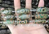 CAA2688 15.5 inches 12*30mm - 14*30mm rice tibetan agate dzi beads