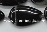 CAA270 15.5 inches 25*40mm flat teardrop black line agate beads