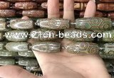 CAA2710 15.5 inches 14*38mm - 16*43mm rice tibetan agate dzi beads