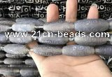 CAA2713 15.5 inches 14*38mm - 16*43mm rice tibetan agate dzi beads