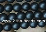 CAA2760 15.5 inches 3mm round matte black agate beads wholesale