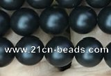CAA2762 15.5 inches 6mm round matte black agate beads wholesale