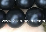 CAA2766 15.5 inches 14mm round matte black agate beads wholesale