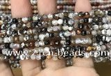 CAA2810 15 inches 4mm faceted round fire crackle agate beads wholesale