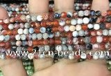 CAA2818 15 inches 4mm faceted round fire crackle agate beads wholesale