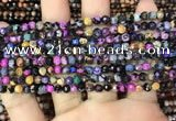 CAA2819 15 inches 4mm faceted round fire crackle agate beads wholesale