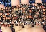 CAA2820 15 inches 4mm faceted round fire crackle agate beads wholesale