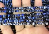 CAA2821 15 inches 4mm faceted round fire crackle agate beads wholesale