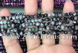 CAA2823 15 inches 4mm faceted round fire crackle agate beads wholesale