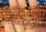 CAA2829 15 inches 4mm faceted round fire crackle agate beads wholesale