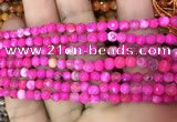 CAA2831 15 inches 4mm faceted round fire crackle agate beads wholesale