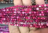 CAA2832 15 inches 4mm faceted round fire crackle agate beads wholesale