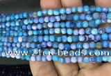 CAA2834 15 inches 4mm faceted round fire crackle agate beads wholesale